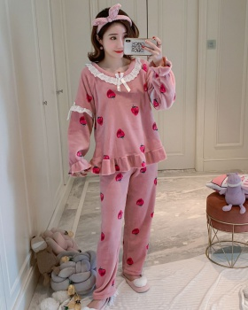 Autumn and winter long sleeve pajamas 2pcs set for women