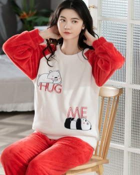 Autumn and winter sweet Casual flannel pajamas 2pcs set for women