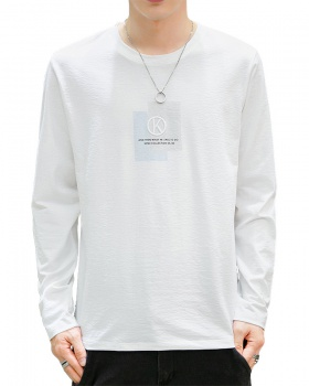 Round neck long sleeve T-shirt student tops for men