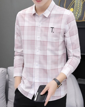 Plaid gradient autumn slim long sleeve shirt for men