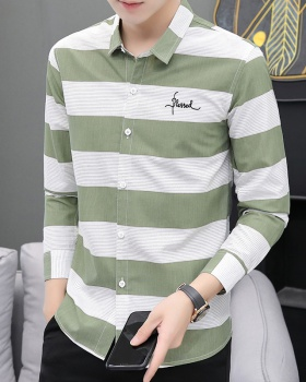 Fashion slim autumn shirt Casual stripe coat for men