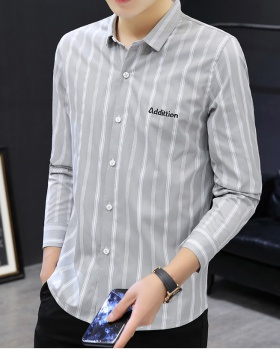 Korean style handsome shirt embroidery Casual tops for men