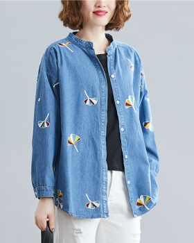 Denim retro large yard shirt art loose tops for women