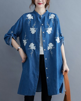 Denim slim embroidery all-match autumn art shirt