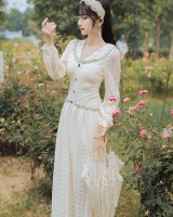 Long sleeve retro long dress lace France style dress