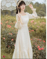 Square collar France style long dress retro dress