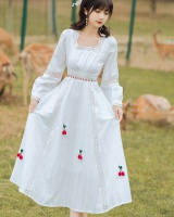 France style long sleeve white retro dress
