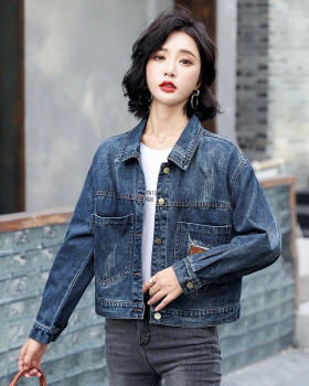 Retro denim loose jacket short all-match coat for women