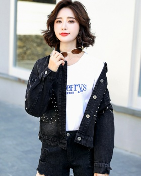 Loose Korean style coat short black tops for women