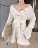 Slim double-breasted V-neck sweater knitted pinched waist dress