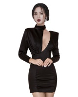 Long sleeve fashion cstand collar dress for women