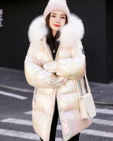 Down large fur collar cotton coat loose glossy bread clothing