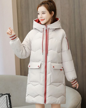 Korean style winter down coat long loose cotton coat for women