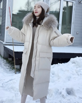 Korean style cotton coat large fur collar down coat