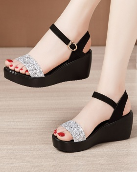 Thick crust sequins sandals summer platform for women