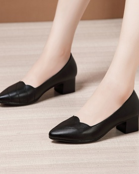 All-match large yard footware middle-heel buff shoes for women