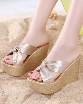 Wears outside gold platform summer slippers for women