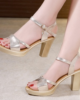 High-heeled gold platform fish mouth summer sandals for women