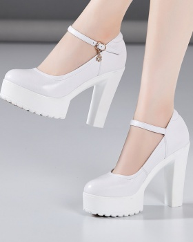 Round platform high-heeled shoes for women