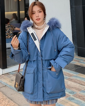 Fashion long cotton coat pinched waist winter down coat