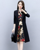 Cozy slim dress floral autumn windbreaker 2pcs set for women