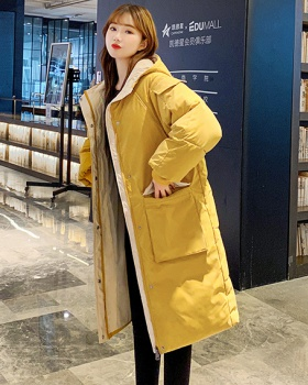Long loose down coat thick cotton coat
