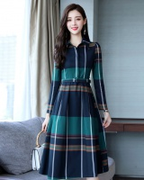 Korean style long lady dress fashion long sleeve shirt