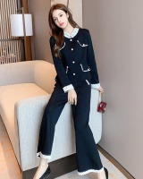 Fashion knitted coat long sleeve wide leg pants 2pcs set
