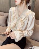Trumpet sleeves autumn white tops V-neck lace shirt