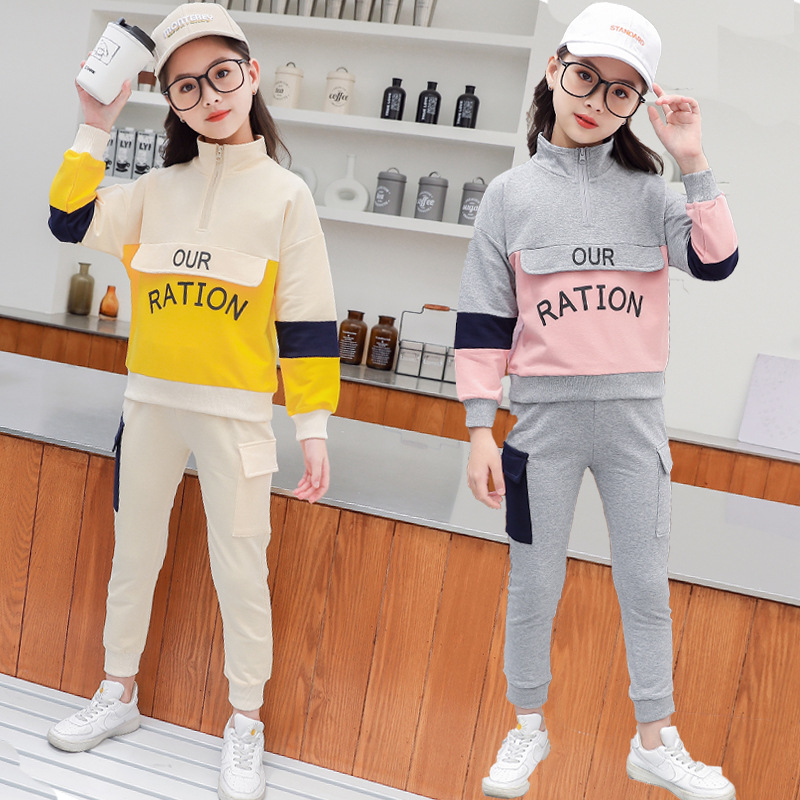 Spring girl child spring and autumn hoodie 2pcs set
