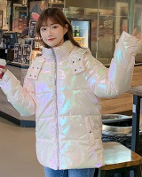 Patent leather bread clothing cotton coat for women
