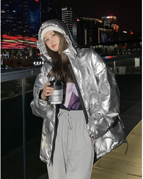 Embossing cotton coat glossy down coat for women