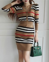 Knitted package hip tops autumn stripe small cardigan 2pcs set