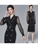 Black business suit long sleeve long dress for women