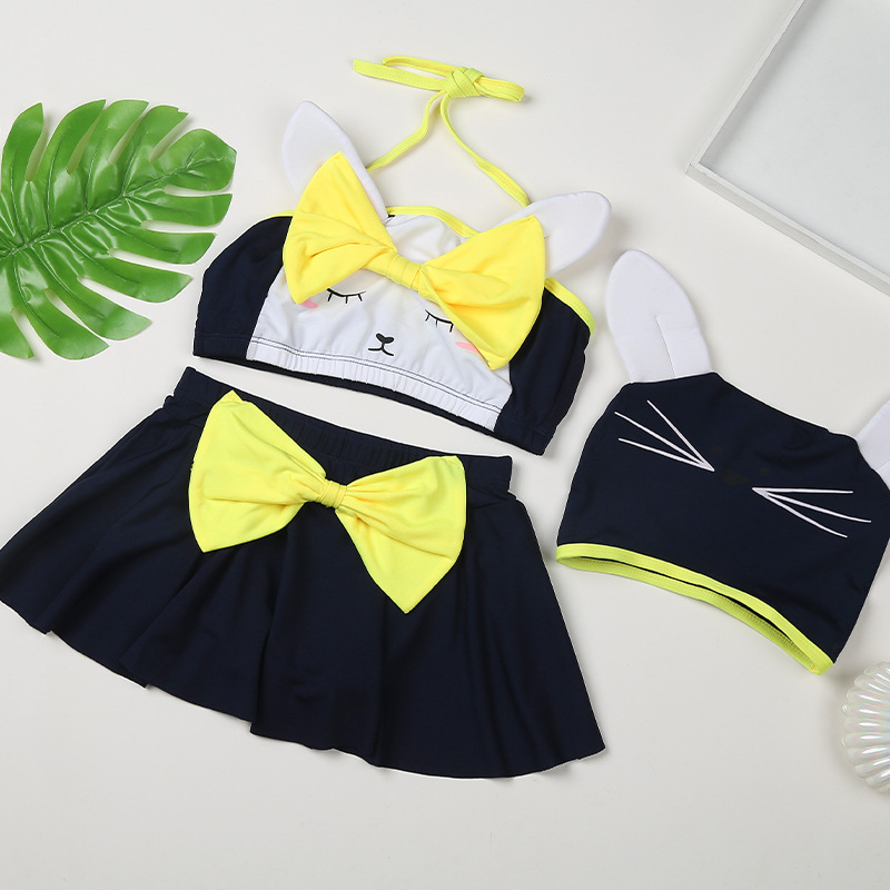 Separate girl swimwear child hooded skirt 3pcs set
