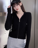 Autumn knitted hooded coat short slim Casual cardigan