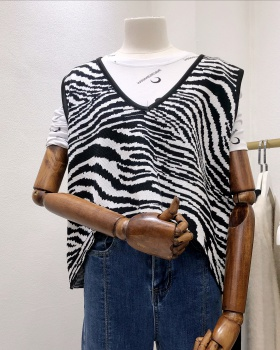 Loose zebra vest knitted Korean style waistcoat for women