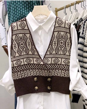 Knitted diamond sweater lazy waistcoat for women
