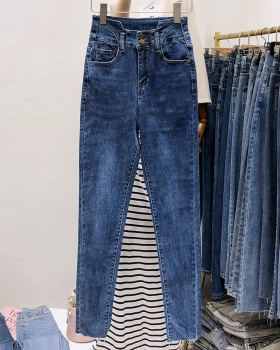 Feet irregular high waist Korean style jeans