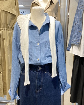 Long sleeve denim lapel autumn blue shirt for women