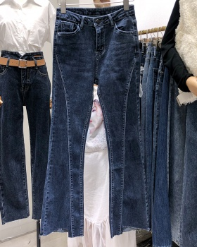 Speaker retro Korean style jeans split burr long pants