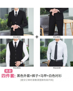 Gray waistcoat overalls business suit 4pcs set for men