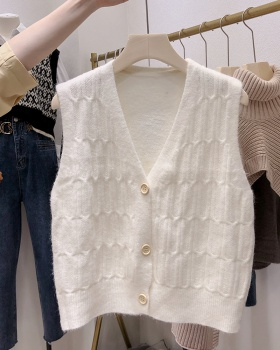 Knitted was white tops wears outside vest for women
