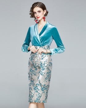 Jacquard splice dress ladies velvet business suit