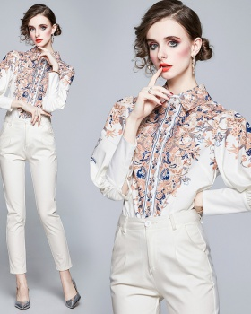 Puff sleeve printing retro fashion shirt