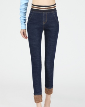 Elastic slim jeans winter pencil pants for women