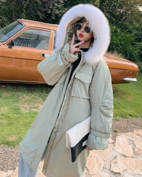 Loose cotton coat large fur collar down coat for women