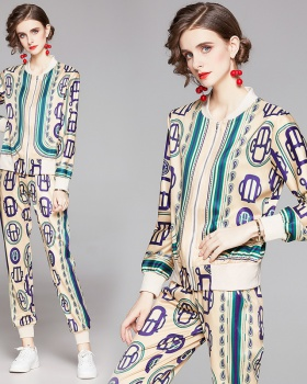 Printing all-match cardigan fashion slim coat a set