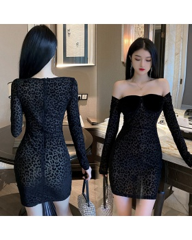 Splice sexy gauze autumn perspective package hip leopard dress