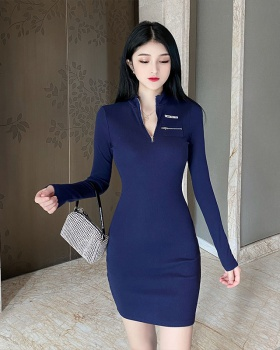 Slim elasticity package hip screw thread zip dress